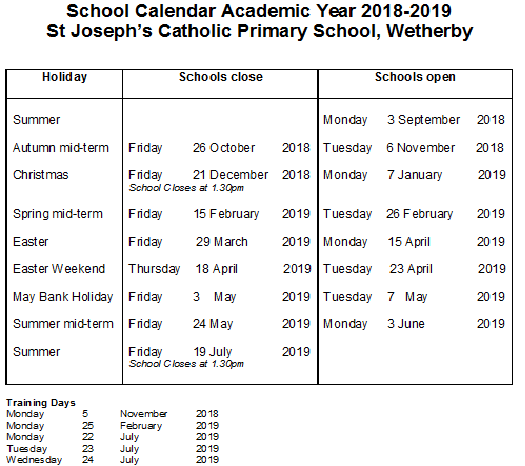 school calendar academic year 2018 2019